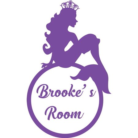 Personalized Name Vinyl Decal Sticker Custom Initial Wall Art Personalization Decor Girl Bedroom Princess Mermaid Crown Fairytale 7 Inches x 12 Inches