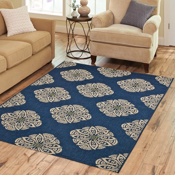 Better Homes and Gardens Medallion Indoor/Outdoor Area Rug ...