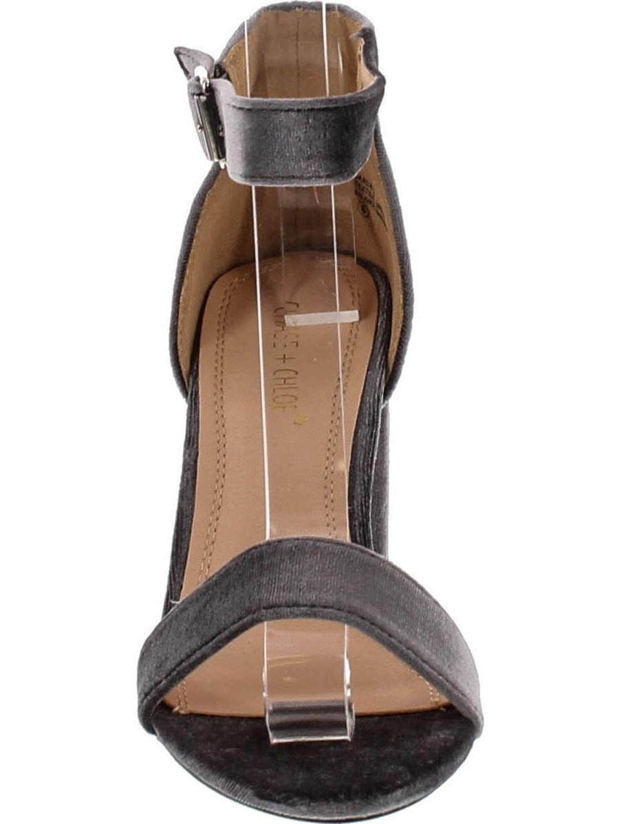 7690ba804d4 Chase   Chloe Carly-2 Women s Velvet Stacked Chunky Heel Strappy Platform  Sandal - Walmart.com