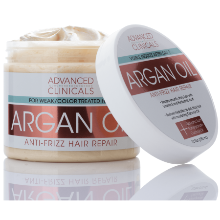 Advanced Clinicals Argan Oil Anti-Frizz Hair Repair Mask. Hydrating Deep Conditioner Makes Frizzy, Color-Treated Hair Shiny & Sikly. Vitamin E & Hyaluronic Acid Strengthen & Repair Weak Hair, 12