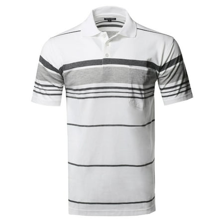FashionOutfit Men's Basic Everyday Stripe Chest Pocket Polo T-Shirt