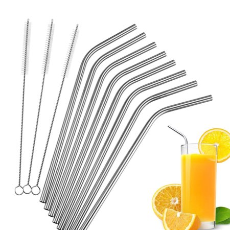 Stainless Steel Drinking Straws, Fits For Ozark Trail 20 Ounce Tumbler - Strong Reusable Eco Friendly, Set of 8 with 3 Cleaning