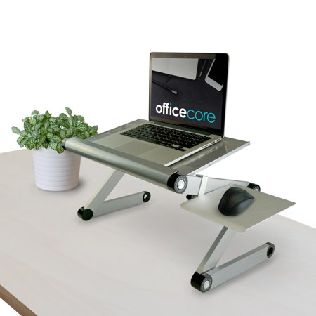 Officecore Standing Desk for Laptops - Metal Design for Offices, Home, Work Stations, Dorm Room - Height Adjustments Clamps, Keyboard Tray, Monitor Stand, Mouse Pad, Cable Management [Color: