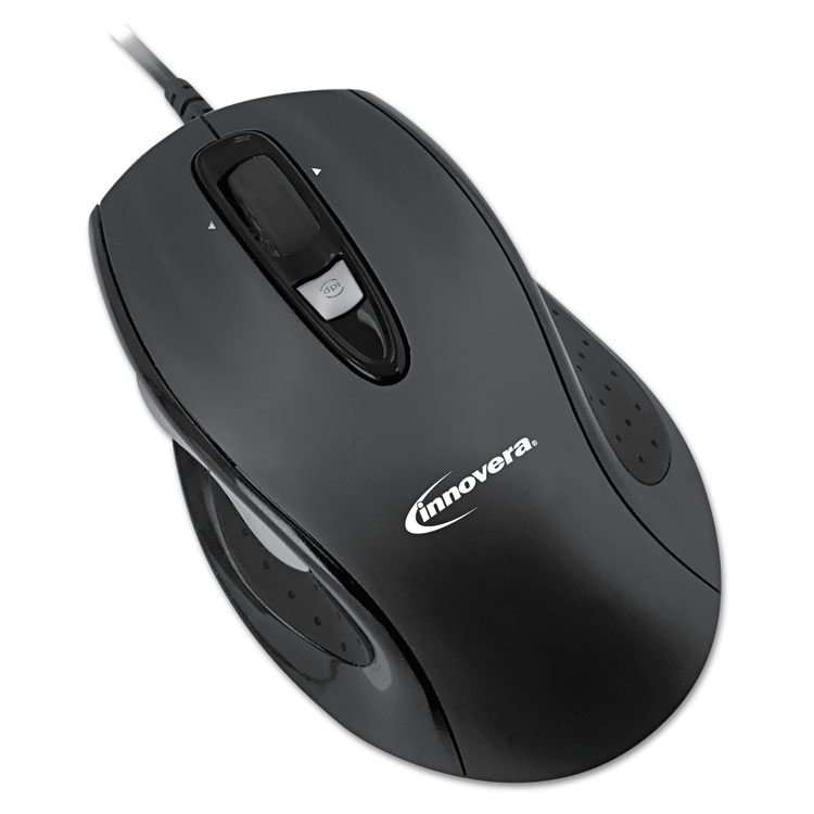 Full-Size Wired Optical Mouse, USB, Black 61014