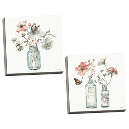 Gango Home Decor Gango Home Decor Shabby-Chic Floral Bouquets in Mason Jars Wall Art by Lisa Audit; Two White 16x16in Hand-Stretched Canvases (Ready to - Mason Jar Table Decor