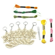 5Pcs Wooden Sunflower with Colour Embroidery Threads DIY Craft Kit Home Decor Cross-stitch Keyring
