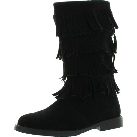 The Doll Maker Girls Tall Fringe Flat Suede Boots