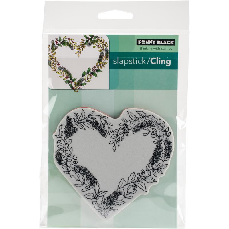 "Penny Black Cling Stamps 4""x6""-heart Wreath"