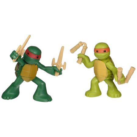 , Ninjas in Training Michaelangelo and Raphael Action Figures, In fighting position By Teenage Mutant Ninja Turtles