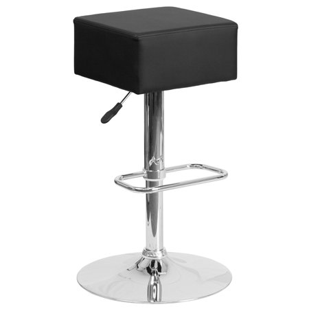 Square Backless Bar Stool - Flash Furniture Contemporary Square Backless Vinyl Adjustable Barstool with Chrome Base