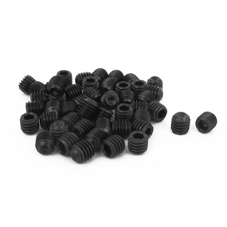 Uxcell M6 x 6mm Male Thread Hex Socket Set Cup Point Grub Screws Black (Male Connecting Screws)
