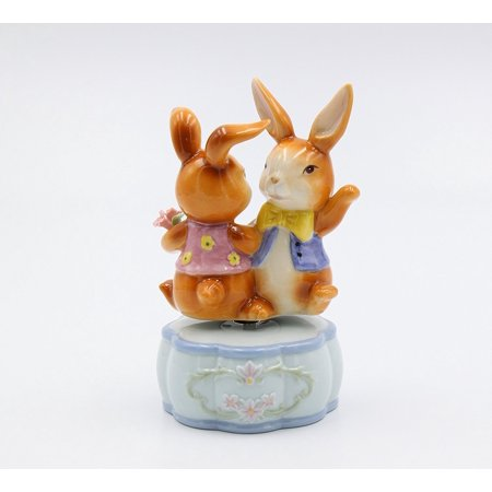 Dancing Bunnies Musical Its A Small World Porcelain Easter Figurine Rabbit 20925 ()