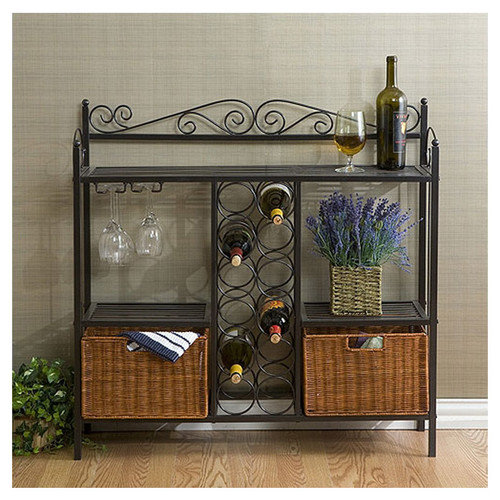 Wildon Home  Scrolled Bakers Rack w/ Wine Storage in Gunmetal Gray