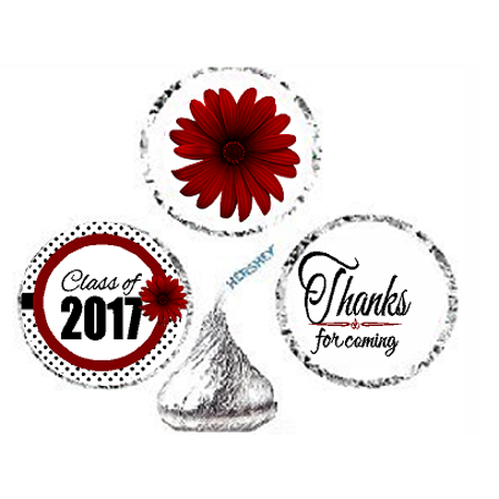 216ct Red Class Of 2017 Party Favor Hersheys Kisses Candy Decoration Stickers / Labels (Halloween Parties In Atlanta 2017)