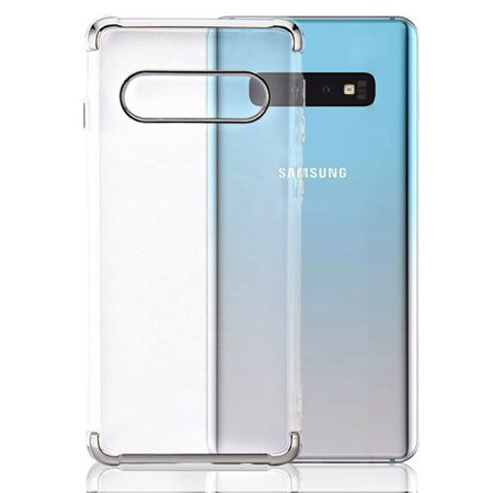 "Samsung Galaxy S10 Plus (6.4"") Phone Case Tuff Hybrid Shockproof Silicone Rubber Rugged Hard Soft Protective TPU Case Ultra Slim Cover Transparent Clear SILVER Case for Samsung Galaxy S10+ / S10PLUS"