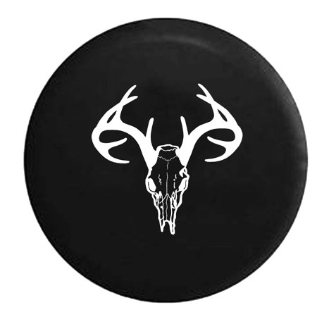 Deer Skull Antlers Hunting Archery Bone Collector Spare Tire Cover Vinyl Black 27.5 in