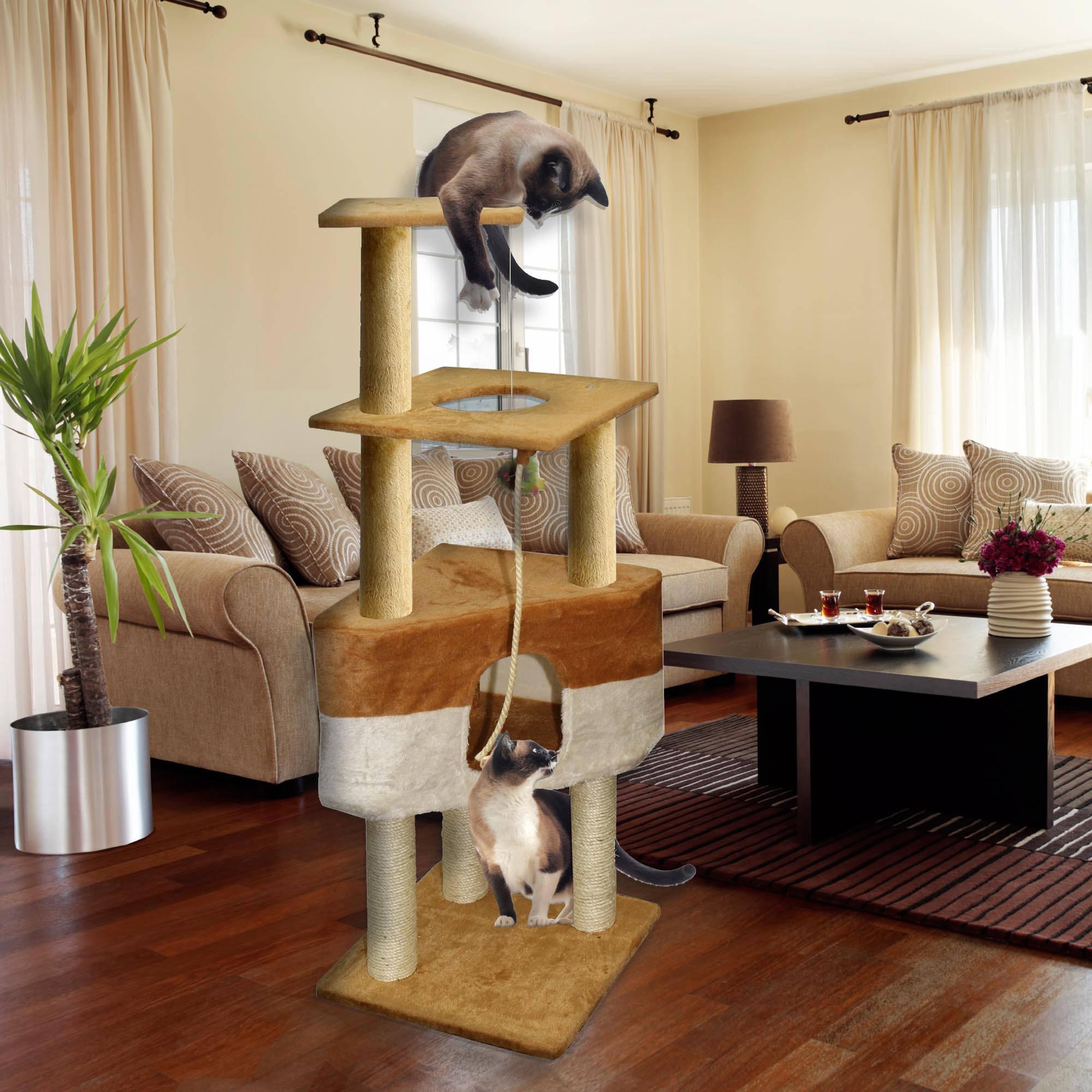 "Premium Cat Tree Tower Condo Scratch Furniture, 50"", Brown and Tan"
