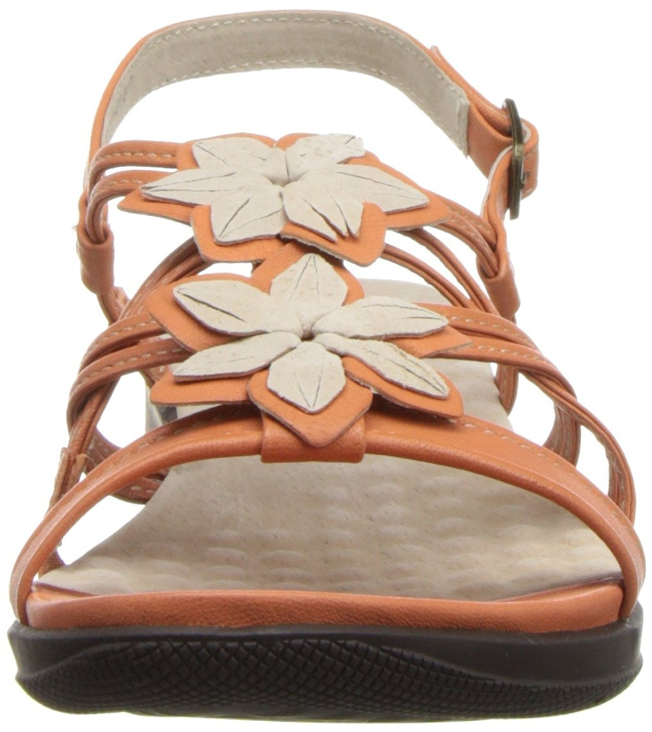 Softwalk Women's Tabago Wedge Sandal (9.5 2A(N), Orange Washed Nappa Leather/Nude Sueded Leather)