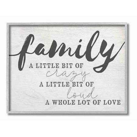 Stupell Industries Family Crazy Loud Love Inspirational Word Design Framed Wall Art by Daphne Polselli (Framed Inspirational Art)