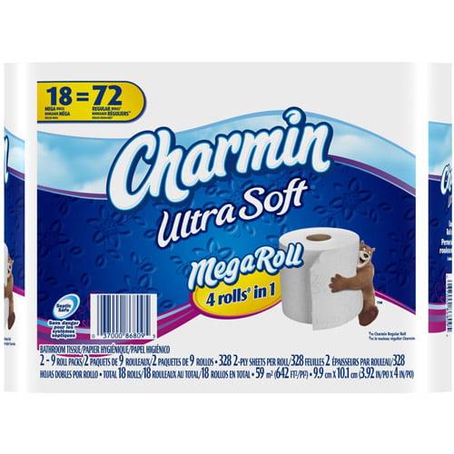 Charmin Ultra Soft Toilet Paper Mega Rolls, 328 sheets, 18 rolls