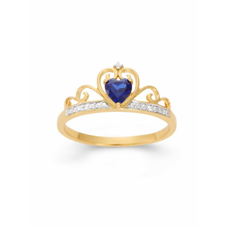 Created Blue Sapphire Heart and White CZ 18kt Gold over Sterling Silver Crown Ring