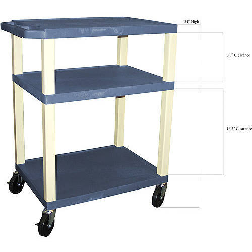 H. Wilson Tuffy A/V Cart 3 Shelves includes Electric, Navy Shelves & Putty Legs
