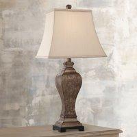 Regency Hill Traditional Table Lamp Bronze Square Urn Geneva Taupe Rectangular Shade for Living Room Family Bedroom Bedside
