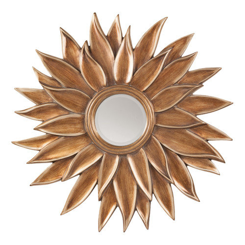 Office Star Orleans Beveled Sun Flower Wall Mirror in Gold