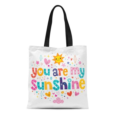 ASHLEIGH Canvas Tote Bag Sparkle You Are My Sunshine Sweetheart Text Affection Affectionate Reusable Shoulder Grocery Shopping Bags Handbag