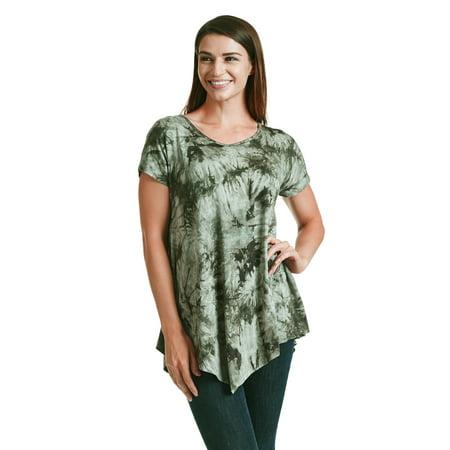 WT1075 Womens V Neck Short Sleeve Tie Dye Asymmetrical Hem Tunic S Olive