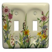 Leviton Wildflower Pattern Porcelain 2-Gang Wallplate Toggle Cover 89509-WFL