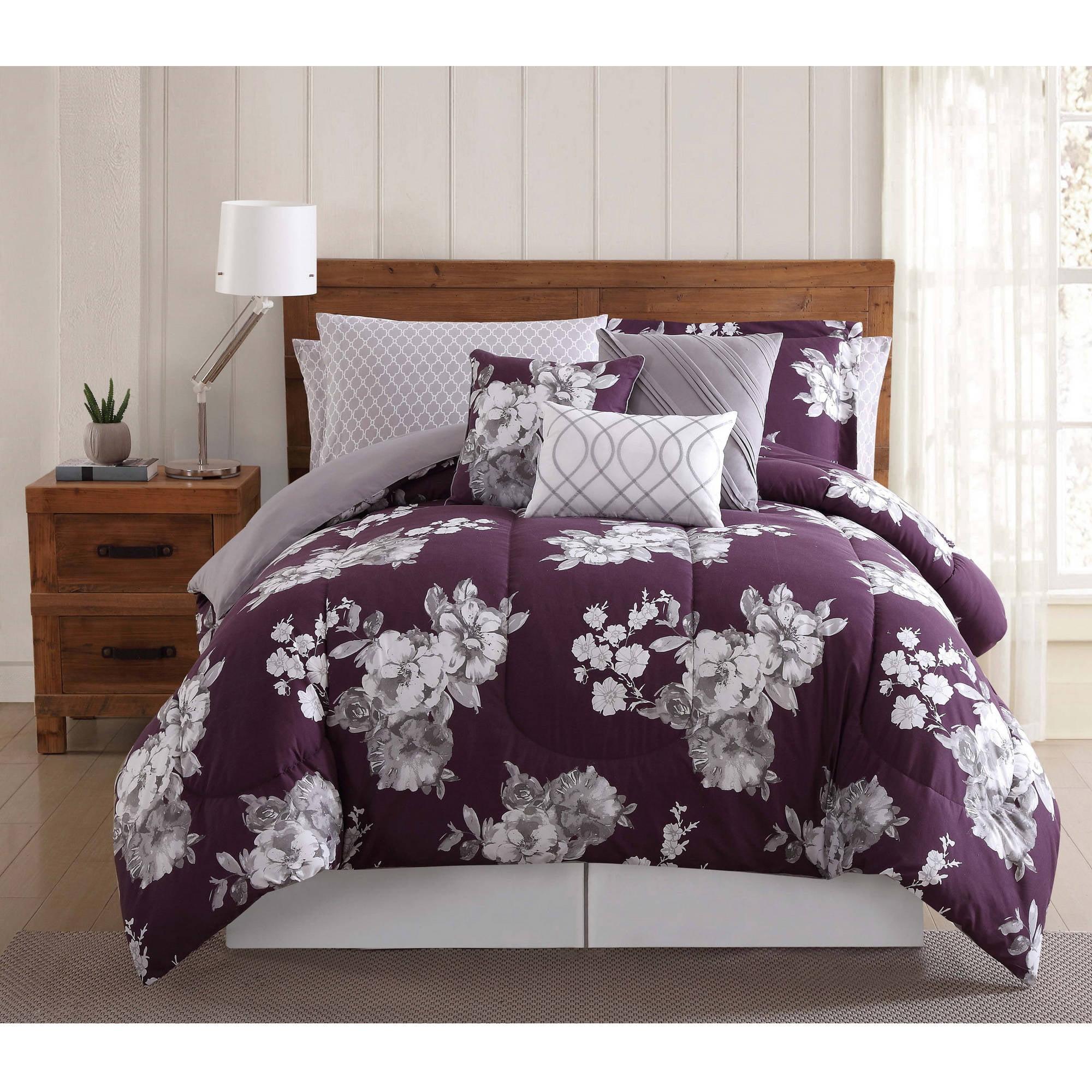 Purple Garden Floral 12PC Bed Ensemble