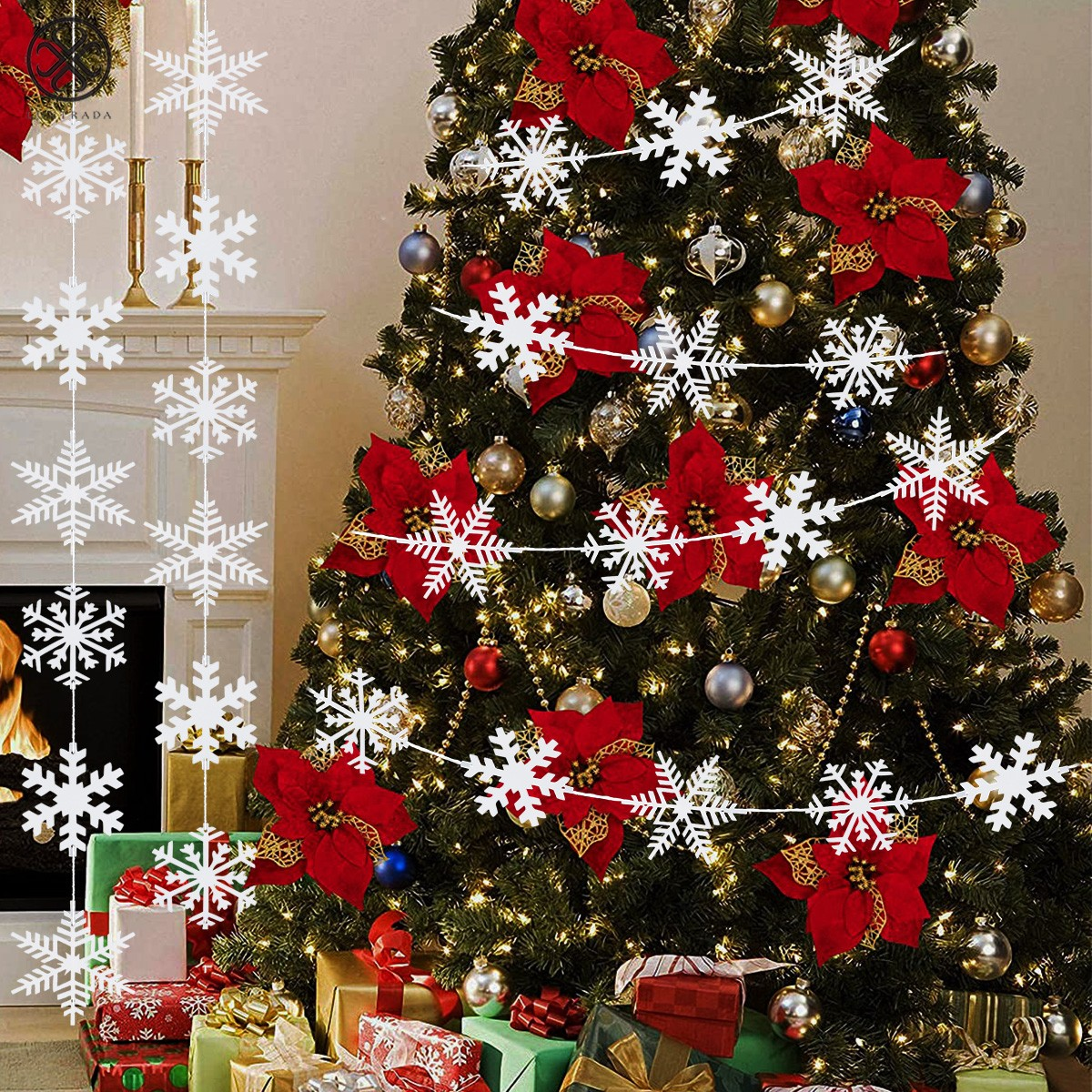 45 Pieces Christmas Cutouts Christmas Snowflake Snowman Cutouts Hanging Banner Winter Colorful Mixed Cut-Outs with Rope for Christmas Winter Party Classroom Decoration