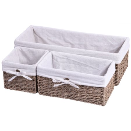 Seagrass Shelf Storage Baskets with Lining, Set of 3 - Small Storage Baskets