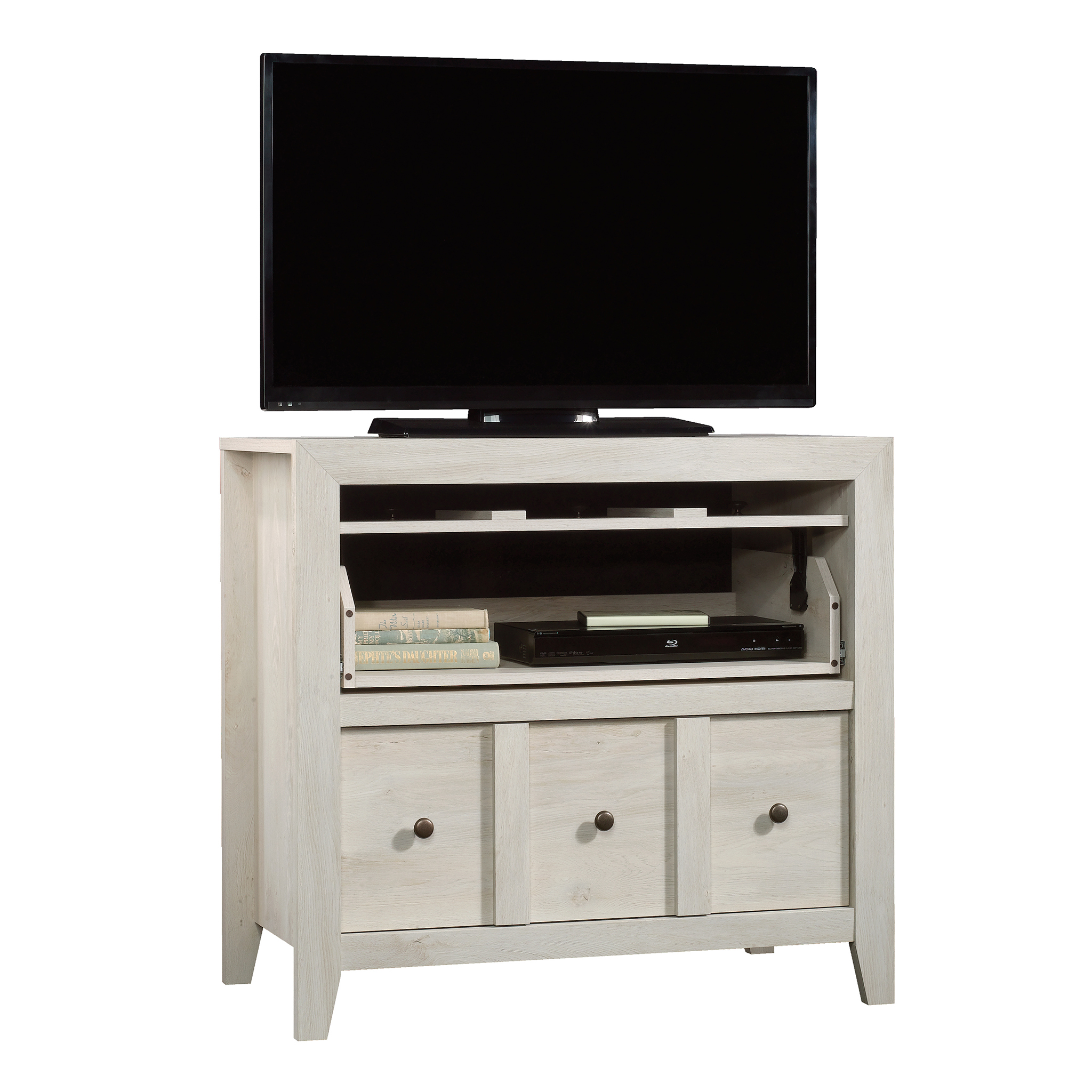 "Sauder Dakota Pass Console with File for TVs up to 42"", Chalked Chestnut Finish"