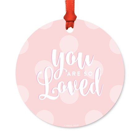 Round Metal Christmas Ornament, You Are So Loved Boy, Includes Ribbon and Gift Bag, Boys Baby Present Gift