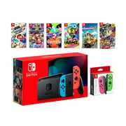 2019 New Nintendo Switch Red/Blue Joy-Con Console Multiplayer Party Game Bundle + Neon Pink/Green Joy-Con, Super Mario Party, Mario Kart 8 Deluxe, 1-2 Switch, Arms, Overcooked 2, Super Bomberman R