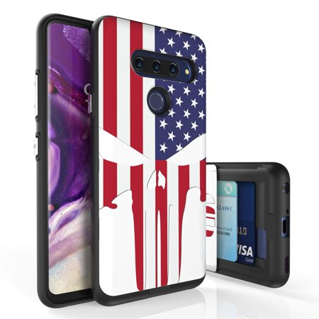 LG V40 ThinQ Case, PimpCase Slim Wallet Case + Dual Layer Card Holder For LG V40 ThinQ (Released 2018) US Flag Skull](Flag Holder Case)