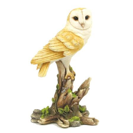 Veronese Design WU71877AA Barn Owl Sitting on a Tree Stump Bird Sculpture