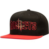 Houston Rockets Mitchell & Ness Woodland Covert II Adjustable Snapback Hat - Black/Red - OSFA