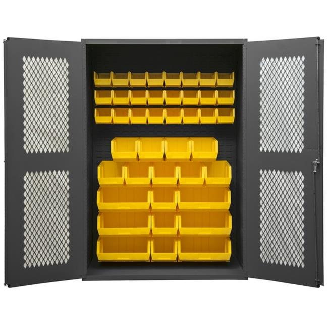 14 Gauge Flush Door Style Lockable Clearview Cabinet with 42 Yellow Hook on Bins, Gray - 48 x 18 x 72 in.
