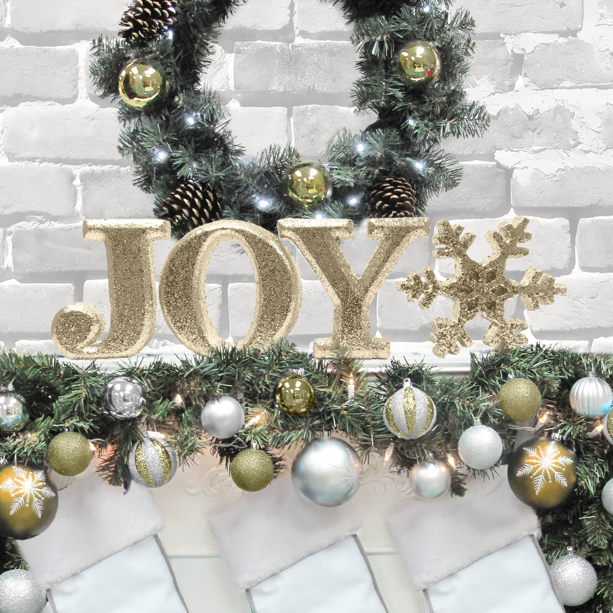 "Holiday Time Christmas Decor 8"" Decorative JOY Letter Set, Glitter Gold"