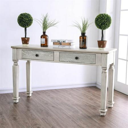 Furniture of America Sonotta Cottage Console Table in Antique White ()