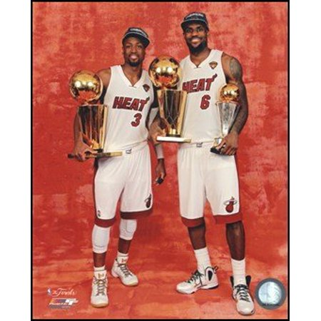 LeBron James & Dwyane Wade with the 2012 Finals & MVP Trophies Game 5 of the 2012 Finals Unknown 8x10 Art Poster PRINT, Exhibition Quality.., By (Nba Mvp Coin)