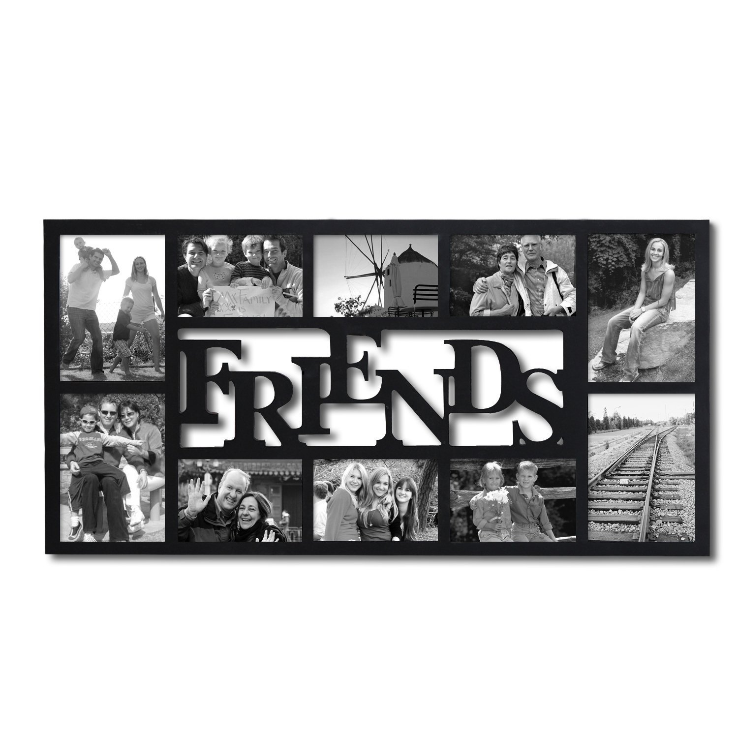 "PF0396 10-Opening Decorative Wood ""Friends"" Collage Wall Hanging Picture Photo Frame, 4x6 Inches and 5x7 Inches, Black, Black matte finish By Adeco"