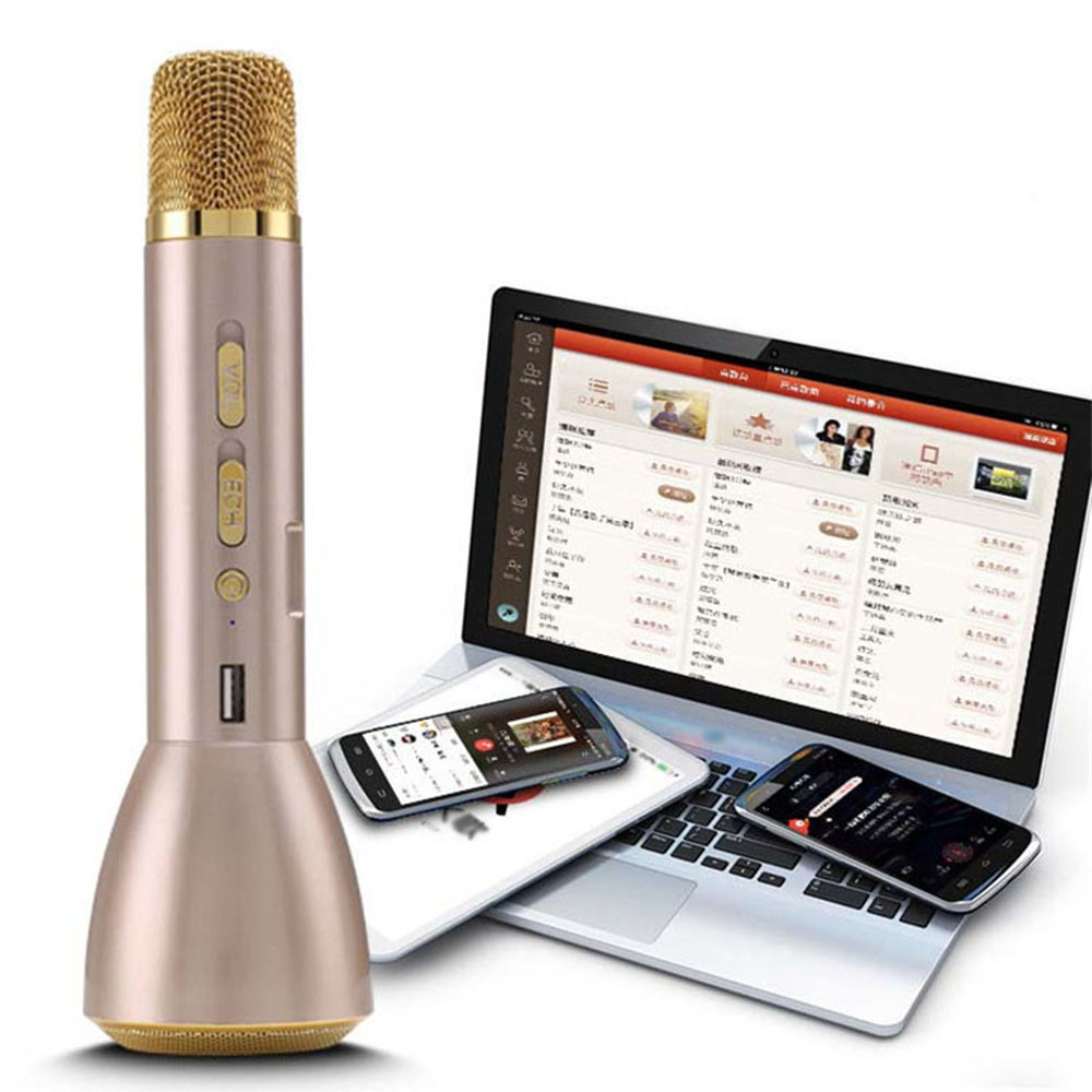 KTV-K088 Magic Mini Wireless Bluetooth Karaoke Player Microphone Speaker Mic Gold by