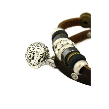 Modern Charm Essential Oil Diffuser Bracelet- Brown Leather
