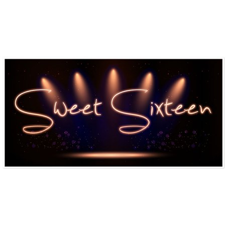 Black and Gold Sweet 16 Sixteen Birthday Banner for $<!---->