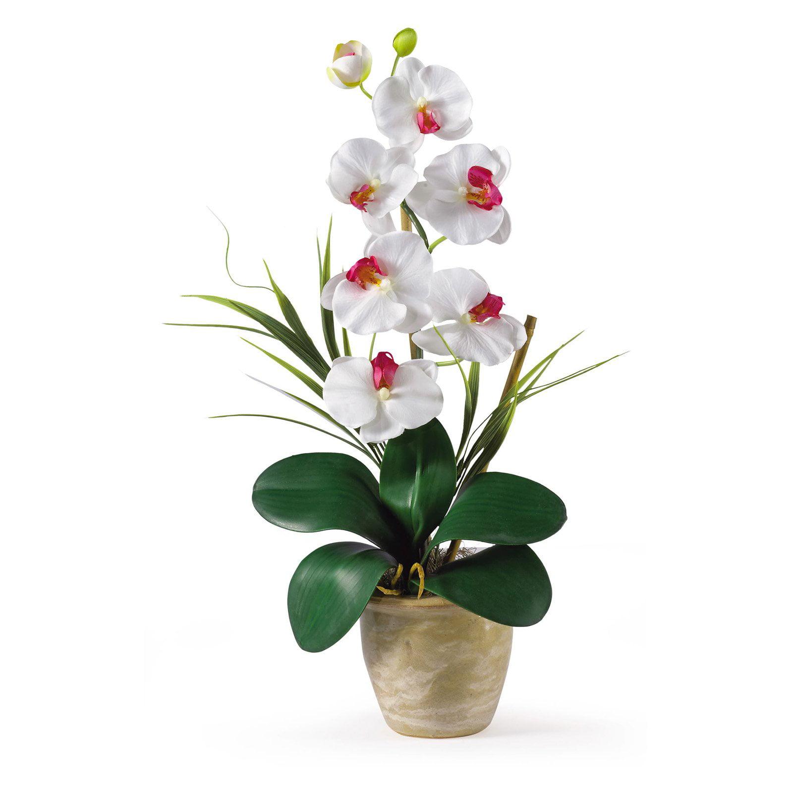Nearly Natural Single Stem Phalaenopsis Orchid Silk Flower Walmart