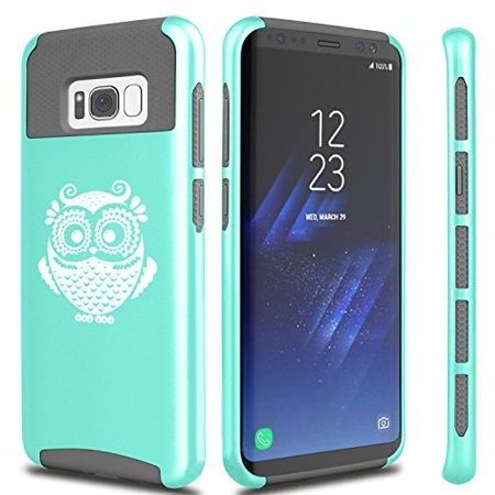 For Samsung Galaxy Shockproof Impact Hard Soft Case Cover Owl Vintage (Teal For Samsung Galaxy S8)
